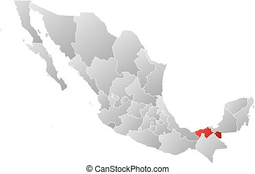 Map - Mexico, Tabasco - Map of Mexico with the provinces,...
