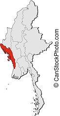 Map - Myanmar, Rakhine - Map of Myanmar with the provinces,...