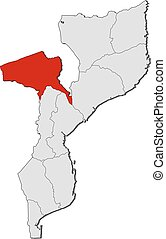 Map - Mozambique, Tete - Map of Mozambique with the...