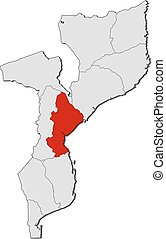 Map - Mozambique, Sofala - Map of Mozambique with the...