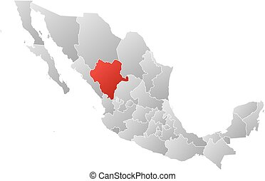 Map - Mexico, Durango - Map of Mexico with the provinces,...