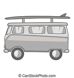 Bus with surfboard icon, gray monochrome style - Bus with...