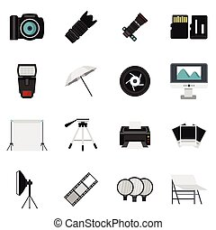 Photo studio equipment icons set, flat style - Photo studio...