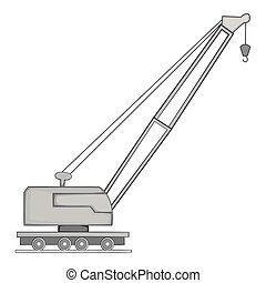 Lifting crane icon, gray monochrome style - Lifting crane...