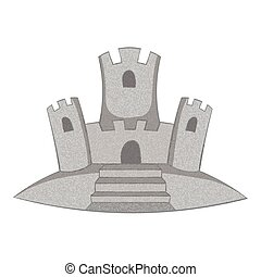Sand castle icon, gray monochrome style - Sand castle icon....