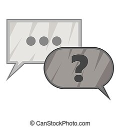 Question and answer icon, gray monochrome style