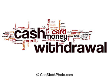 Cash withdrawal word cloud concept