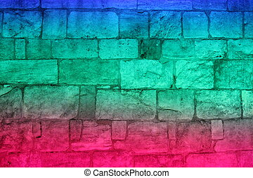 Multi-colored Floodlit Medieval Stone Wall. - Old stone...