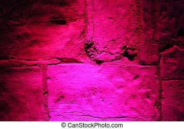 Deep Pink Floodlit Medieval Stone Wall. - Old stone wall...
