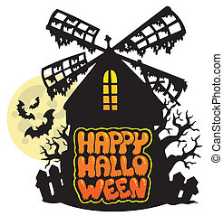 Mill with Happy Halloween sign 1 - vector illustration