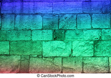 Multi-colored Floodlit Medieval Stone Wall. - Medieval wall...