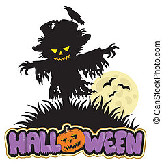 Halloween scarecrow with full moon - vector illustration.