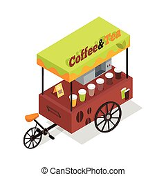 Coffee and Tea Trolley in Isometric Projection. - Coffee and...