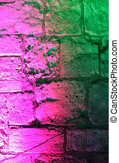 Pink and Green Medieval Floodlit Wall. - Medieval wall...
