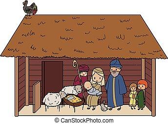 christmas crib - Illustration of a christmas crib with...