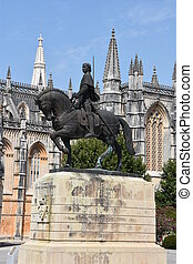 Monastery of Batalha in Portugal - Equestrian statue of Dom...