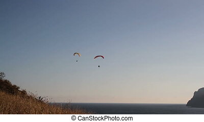Two paraglider above the sea bay - Two paraglider above the...