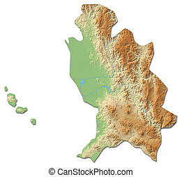 Relief map - Nayarit (Mexico) - 3D-Rendering - Relief map of...