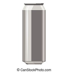 Aluminum beer can icon, gray monochrome style - Aluminum...