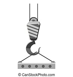 Industrial hook with reinforced concrete slab icon. Gray...