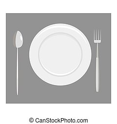 Place setting with empty dish fork and knife icon. Gray...