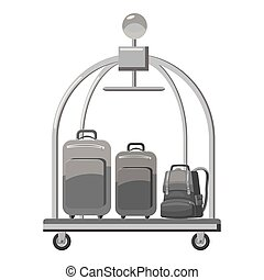 Hotel baggage cart icon, gray monochrome style