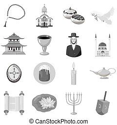 Judaism church traditional symbols icons set