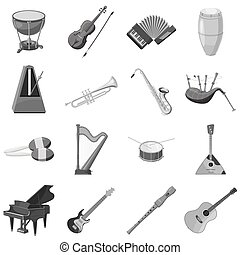 Musical instrument icons set gray monochrome style