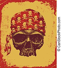 skull with bandana - Pirate skull with bandana vector...