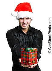 Christmas man with gift - Businessman in black suit weared...