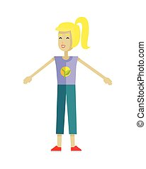 Young Ecologist Character Vector Illustration. - Smiling...