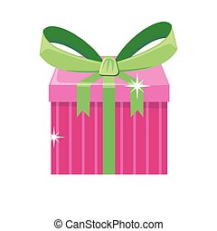 Christmas Pink Gift Box with Green Bow - Christmas pink gift...