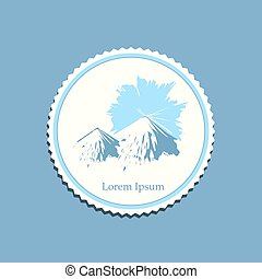 mountain sunrise drawing label travel badge - snowy mountain...