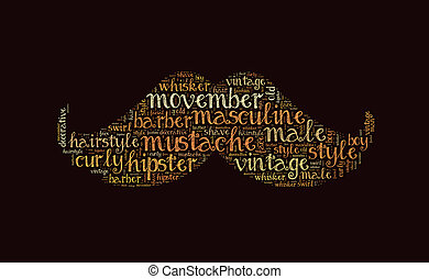 Mustache word cloud, movember symbol