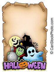 Parchment with Halloween theme 3 - color illustration.