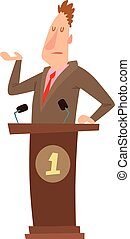 Politicians people vector set. - Orator speaks with broad...