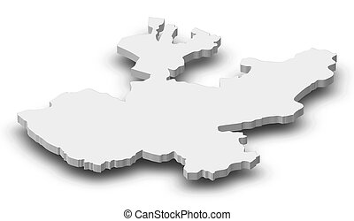 Map - Jalisco (Mexico) - 3D-Illustration - Map of Jalisco, a...