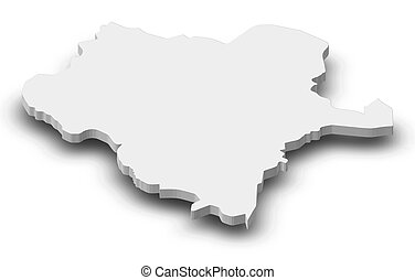 Map - Durango (Mexico) - 3D-Illustration - Map of Durango, a...