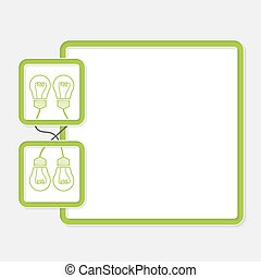 Green box for your text and bulb symbol