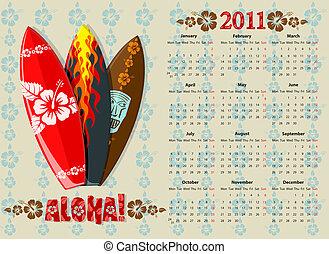 Vector Aloha surf calendar 2011