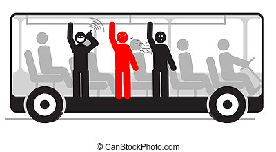 Vector illustration of angry passenger in bus with screaming...