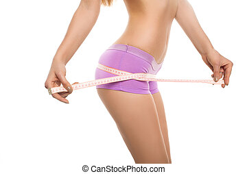 Model measuring hips with centimeter - Slim model measuring...