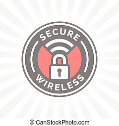 Secure wireless icon with padlock and wifi symbol stamp....