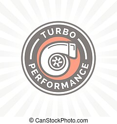 Turbo performance icon badge with car turbocharger compressor symbol.