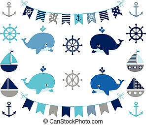 Nautical boy set in blue and grey - boats, whales, anchors, wheels, buntings
