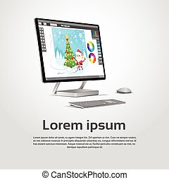 Desktop Modern Computer Graphic Designer Workplace...