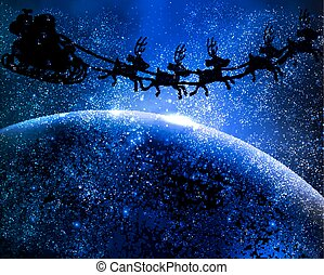 Santa Claus is flying in space, vector art illustration for...