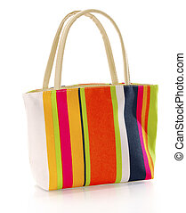 colorful hand bag - colorful canvas hand bag with reflection...
