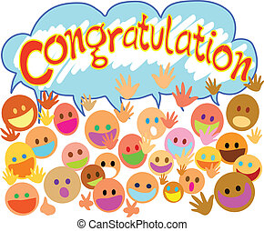 congratulations - Many people happy face saying...