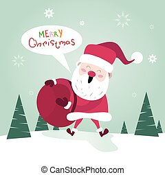Merry Christmas Santa Clause With Present Sack Happy New...